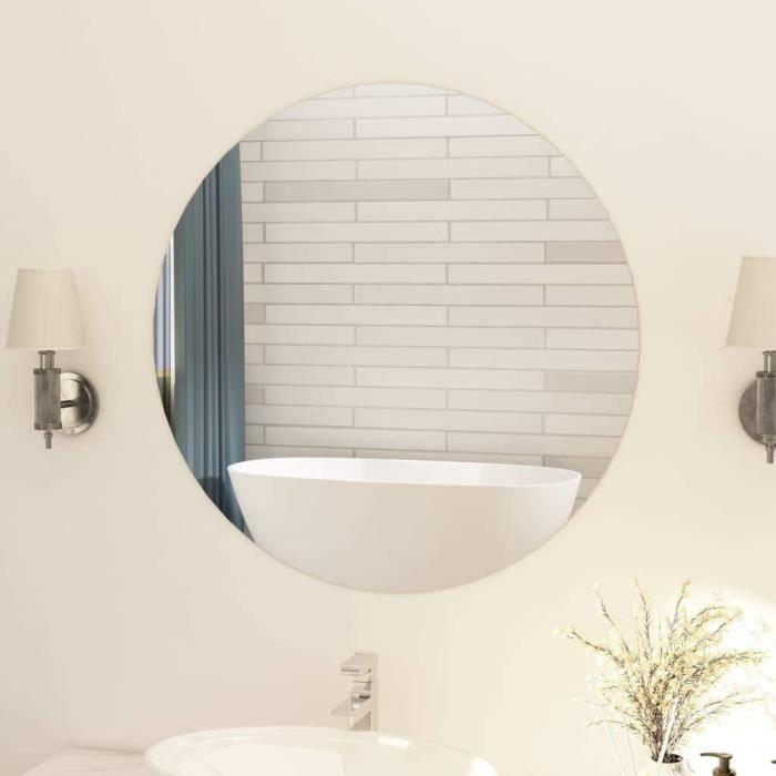Miroir Rond sans Cadre Miroir Mural Miroir de Salon Miroir Chambre à Coucher Miroir de Salle de Bain Intérieur Maison 80 cm Verre