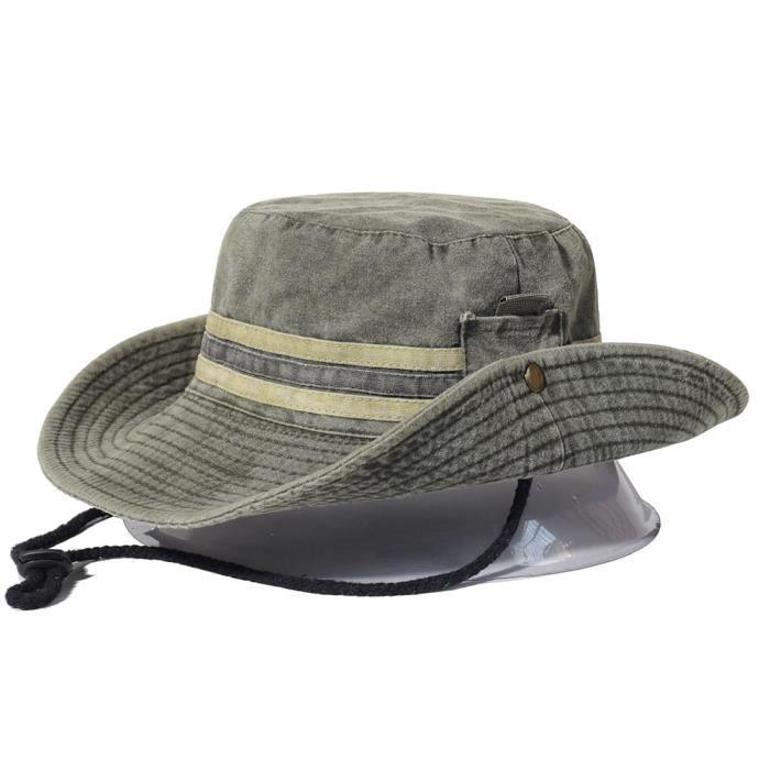 Chapeau de randonnée de pêche pour hommes et femmes en coton à large bord, chapeau d'été de Safar Vert armée 56-58cm