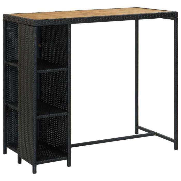 Table de bar avec rangement Noir 120x60x110 cm Résine tressée, bois d'acacia massif avec finition à l'huile