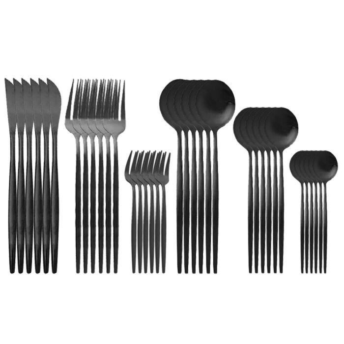 Services de table,Couverts en acier inoxydable,36 pièces,rouge mat,or,couteau,fourchette à gâteau,cuillère,pour la - Type Black