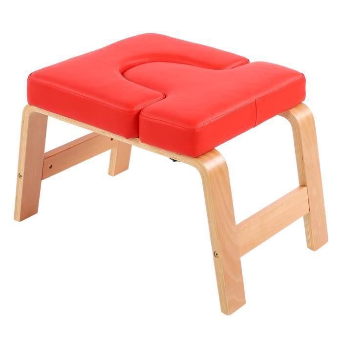 Chaise de yoga Chaise d'Inversion de Yoga Tabouret de Poirier de Musculation à Maison de Gym de Femmes Hommes(Rouge ) HB009 -JIL
