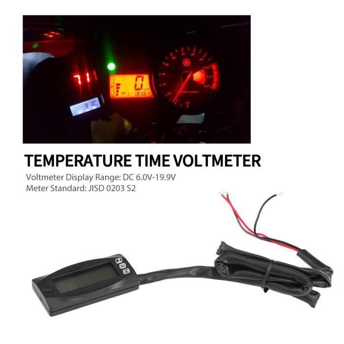 mini affichage LED moto température de l'air horloge voltmètre Pour Auto moto