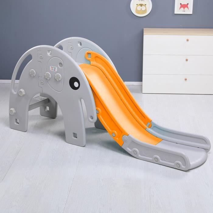 Baby Vivo Toboggan Enfant Aire de jeux Jeu d'Extérieur et à l'Intérieur pour Enfants Jardin Éléphant en Orange-Gris