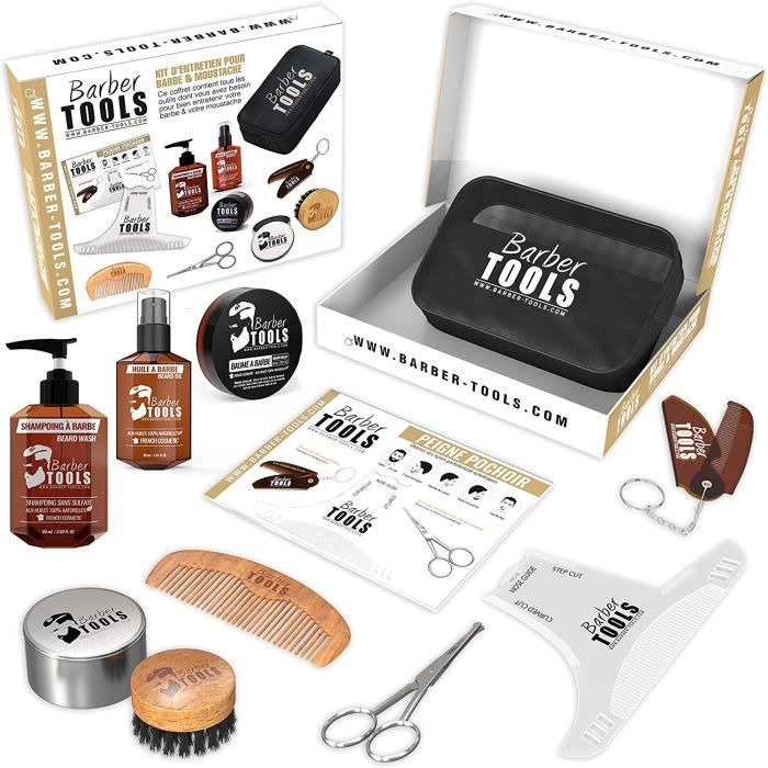 Kit/Set/Coffret (9 PRODUITS) d'entretien et de soin pour barbe avec Soin de barbier - Cosmetique