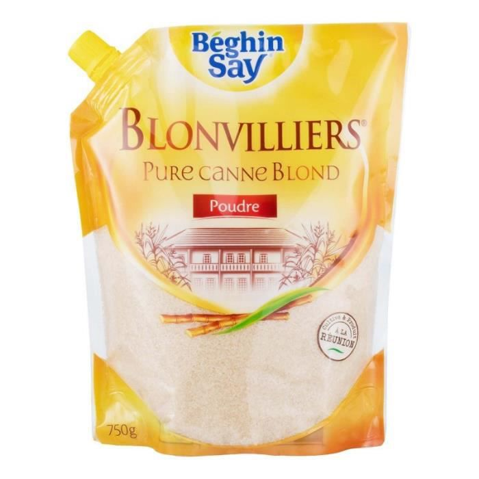 Béghin Sucre Blonvilliers Pure Canne Blond Poudre 750g (lot de 6)