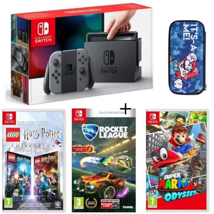 Pack nintendo switch grise lego harry potter rocket league super mario odyssey housse mario