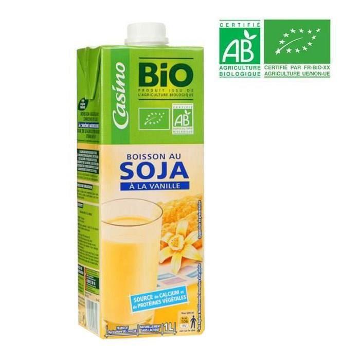 CASINO BIO Boisson Soja Calcium Vanille 1l