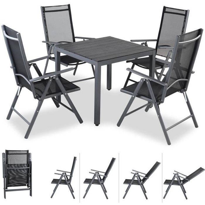 Bern Set de 2 chaises en aluminium avec dossier haut r/églable en 7 positions chaise fauteuil de jardin
