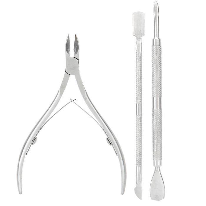 Cikonielf outil de manucure 3pcs pinces à cuticules en acier inoxydable enlèvement de la peau morte ensemble d'outils de manucure