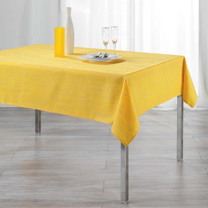 CDaffaires Nappe rectangle 140 x 300 cm polyester applique filiane Miel