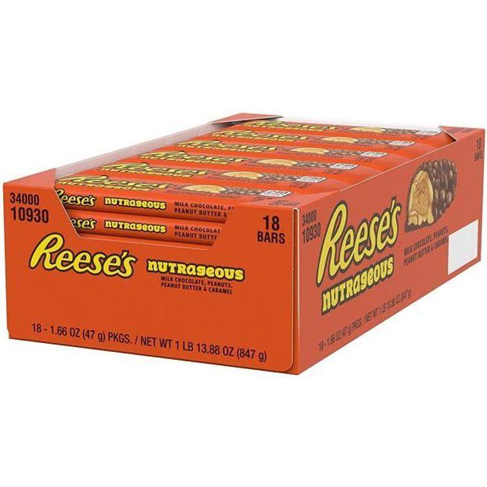 HERSHEY'S REESE'S Barre chocolatée Reese's garnis de cacahuètes grillés et de caramel - 47g x 18