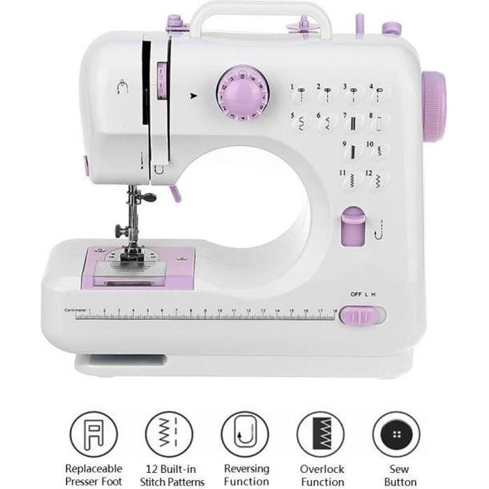 Mellifluous Mini Machine à Coudre Electronique Débutant 12Points Portable Ajustables Multifonction Fil et Vitesse Double