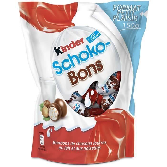 LOT DE 8 - KINDER : Schokobons - Confiseries au chocolat et noisettes 150 g