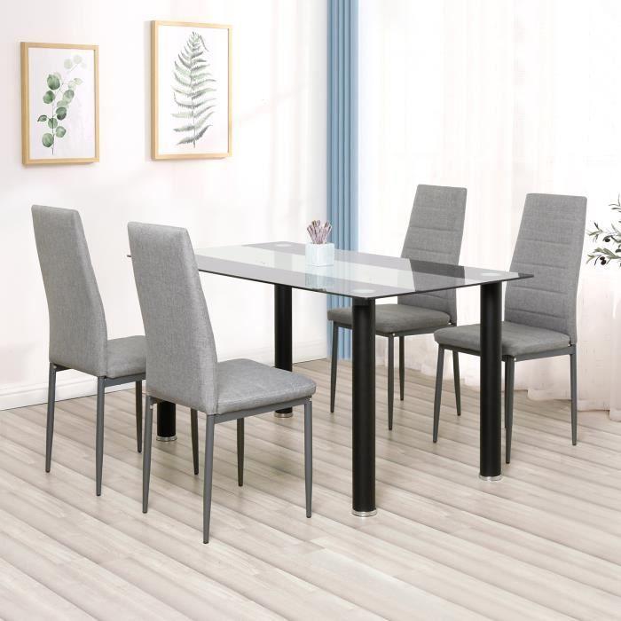 Lot de 4 chaises de salle à manger en simili, Chaise de cuisine,Tissu, Style contemporain, gris, 4pcs-Mondeer