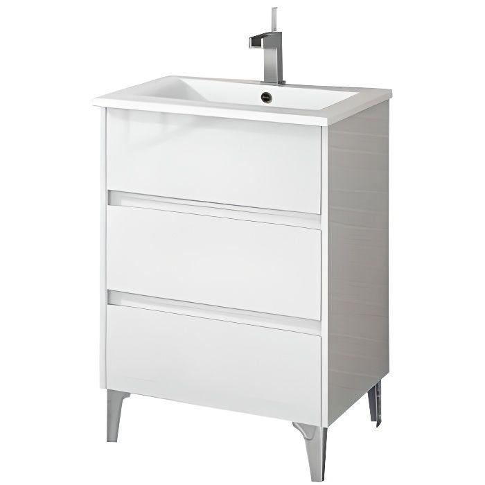 Meuble de salle de bain TENERIFE 60cm blanc brillant