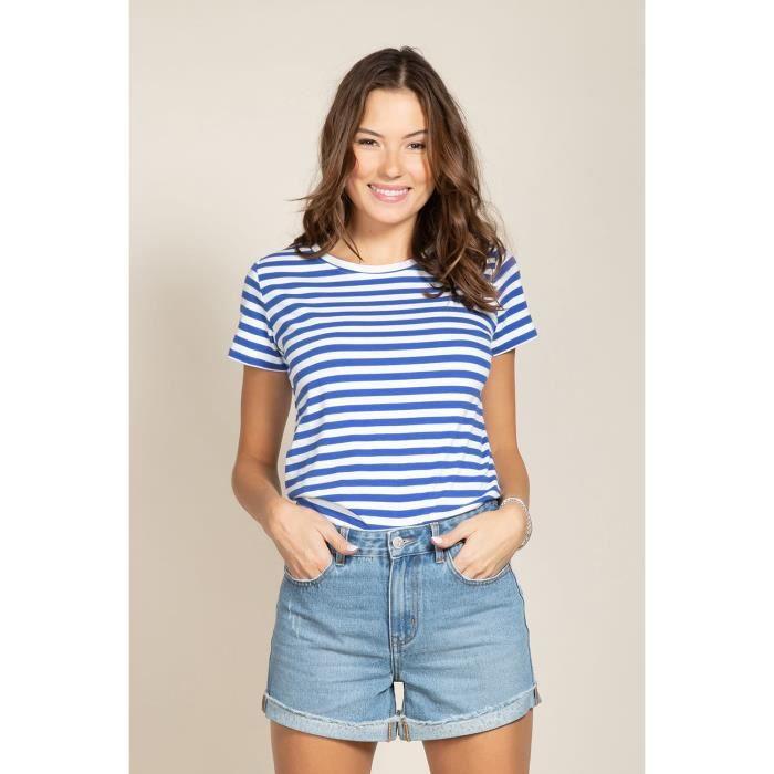 DEELUXE T-shirt marinière à col rond TRUSTRIPES Blue Stripes