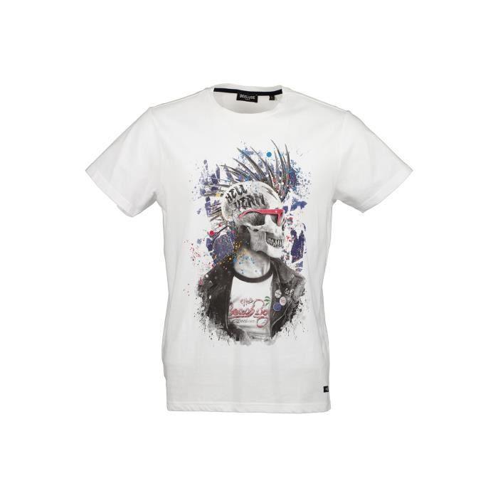 DEELUXE T-shirt dessin tête de mort ENFIELDON White
