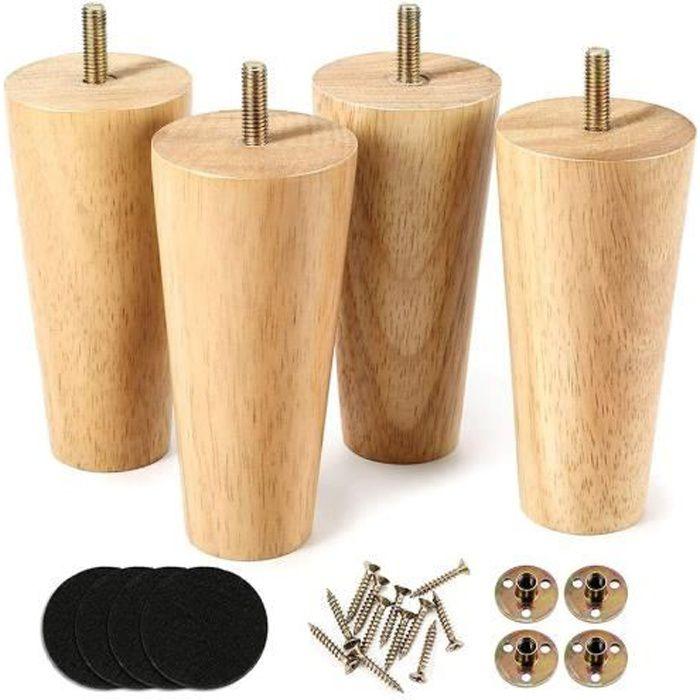 4 pcs Pieds de meuble en bois pour canapé , fauteuil, armoire, canapé, buffet