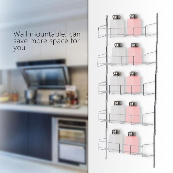 Support mural organisateur de stockage d'épices garde-manger cuisine support d'étagère debout 5 couches-DIN