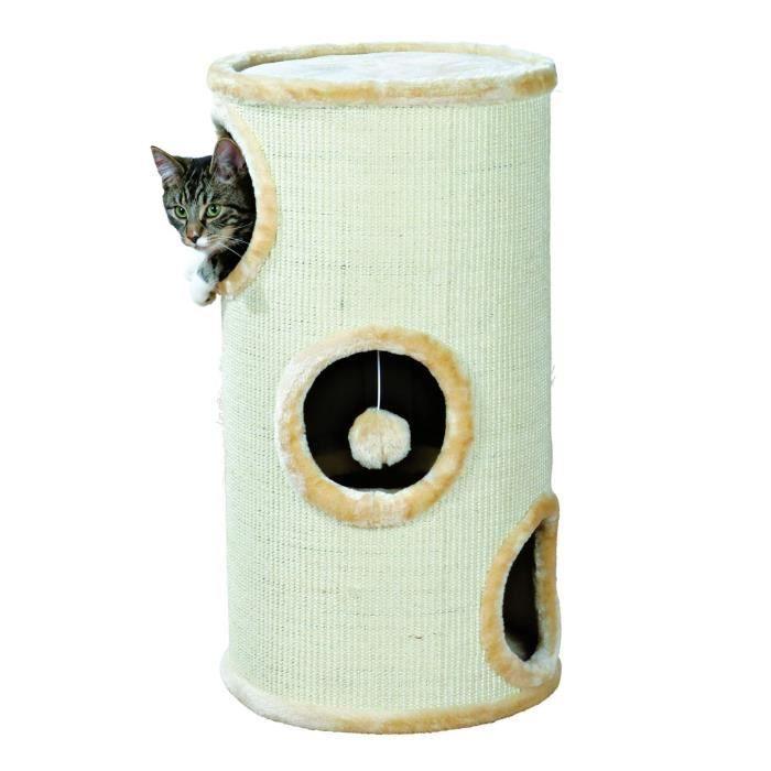 TRIXIE Samuel Cat Tower Hauteur 70 cm beige avec sisal à griffer pour chat