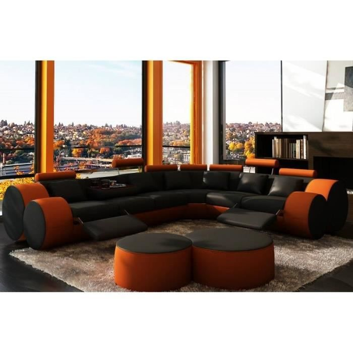 canap d 39 angle design en cuir noir et orange roma achat vente canap sofa divan cuir. Black Bedroom Furniture Sets. Home Design Ideas