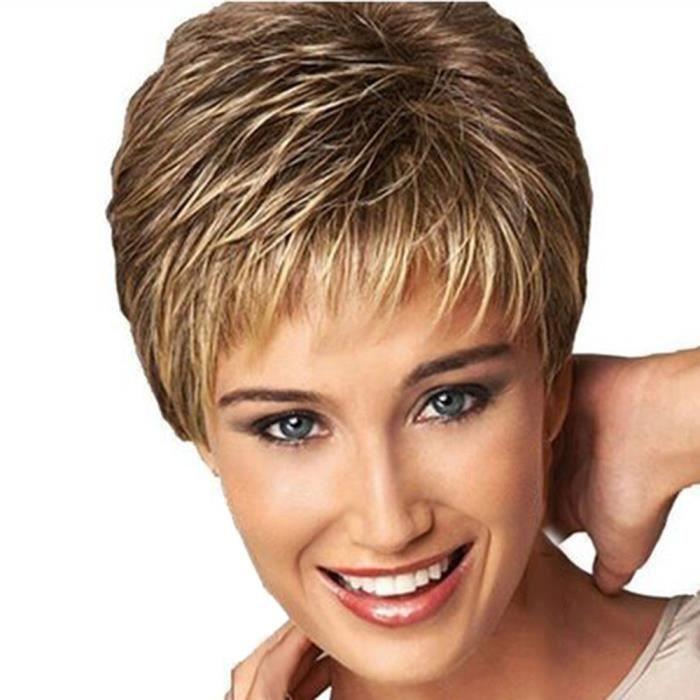 Mode perruque courte coupe de cheveux bouclés Dégradé de couleur perruques de cheveux ...