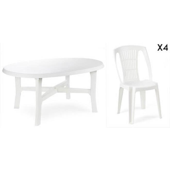 Table ovale blanche + 6 chaises jardin plastique blanc empilables