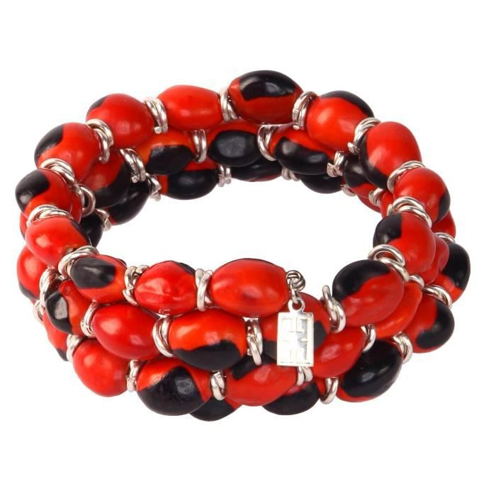 Craze Red & Black Wrap Bracelet Pour Made With Natural Huayruro Beads 8mm de semences