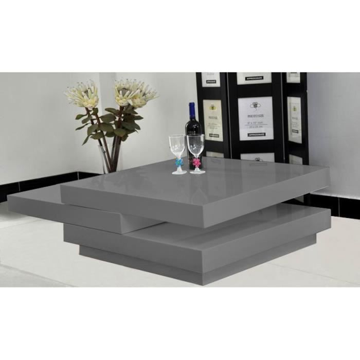Table basse square couleur gris anthracite laqu achat - Table basse laquee grise ...