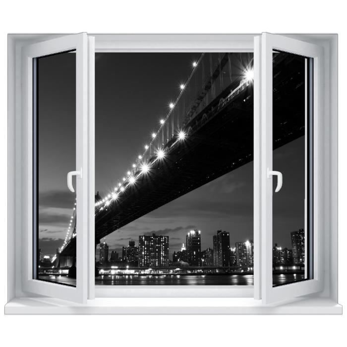 Sticker trompe l 39 oeil fen tre brooklyn new york dimensions for Stickers fenetre new york