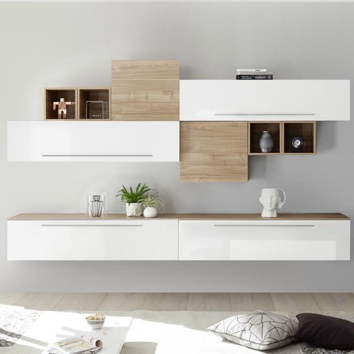 meuble tv mural blanc et couleur bois clair lucrec