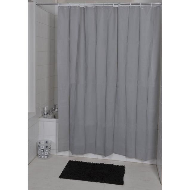 rideau de douche gris 180x200 cm textile achat vente rideau de douche textile 100. Black Bedroom Furniture Sets. Home Design Ideas