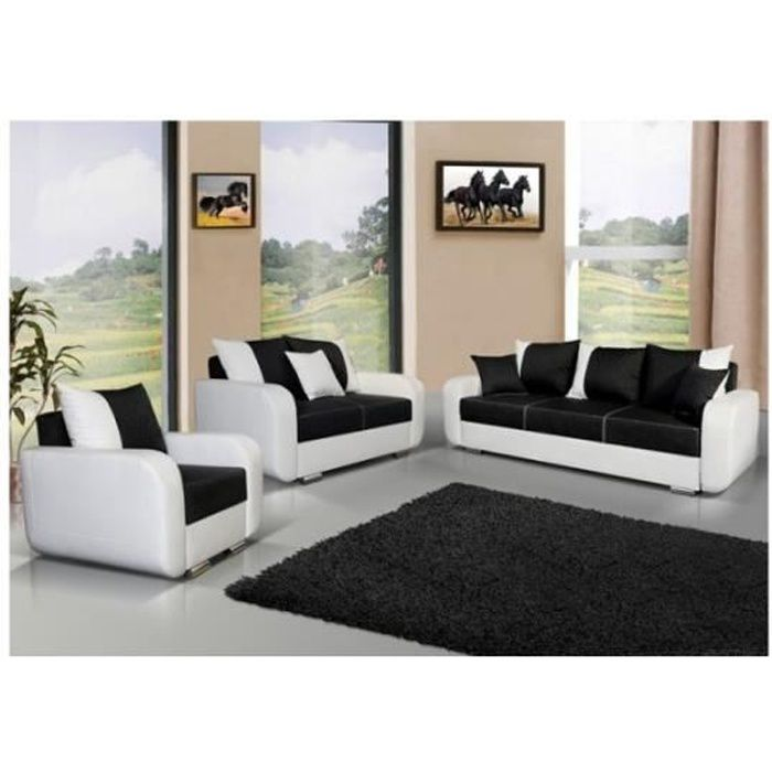 canap 3 2 1 avec fauteuil calypso noir et blanc achat. Black Bedroom Furniture Sets. Home Design Ideas
