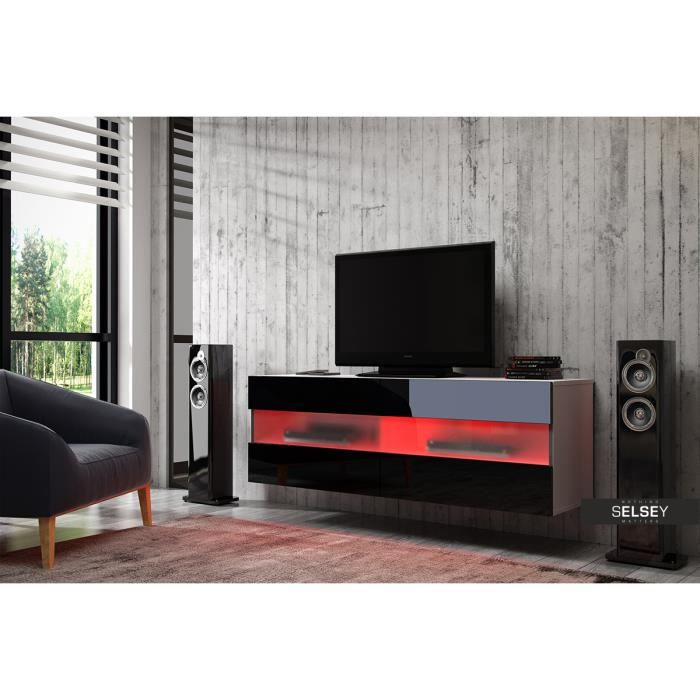 meuble tv brico blanc mat noir brillant avec led rouge achat vente meuble tv meuble tv brico. Black Bedroom Furniture Sets. Home Design Ideas