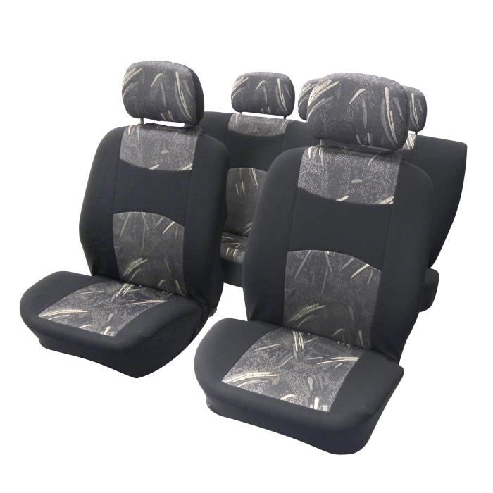couvre sieges 9 pieces noir gris compatible airbag avec arriere fractionnable achat vente. Black Bedroom Furniture Sets. Home Design Ideas