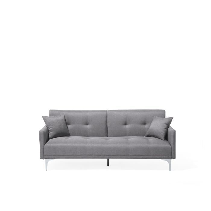 canap convertible canap lit en tissu gris lucan achat vente canap sofa divan. Black Bedroom Furniture Sets. Home Design Ideas
