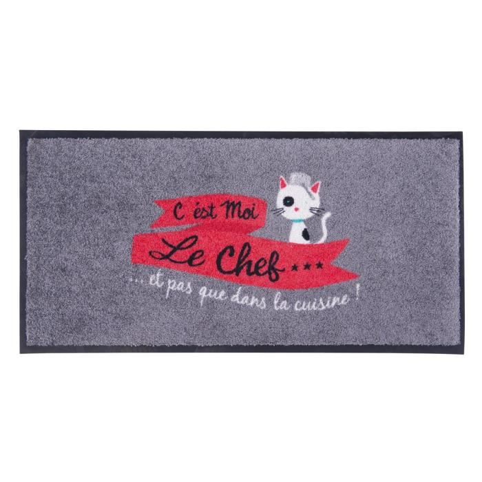 tapis de cuisine moi le chef gris motif chat antid rapant id e cadeau original humoristique. Black Bedroom Furniture Sets. Home Design Ideas