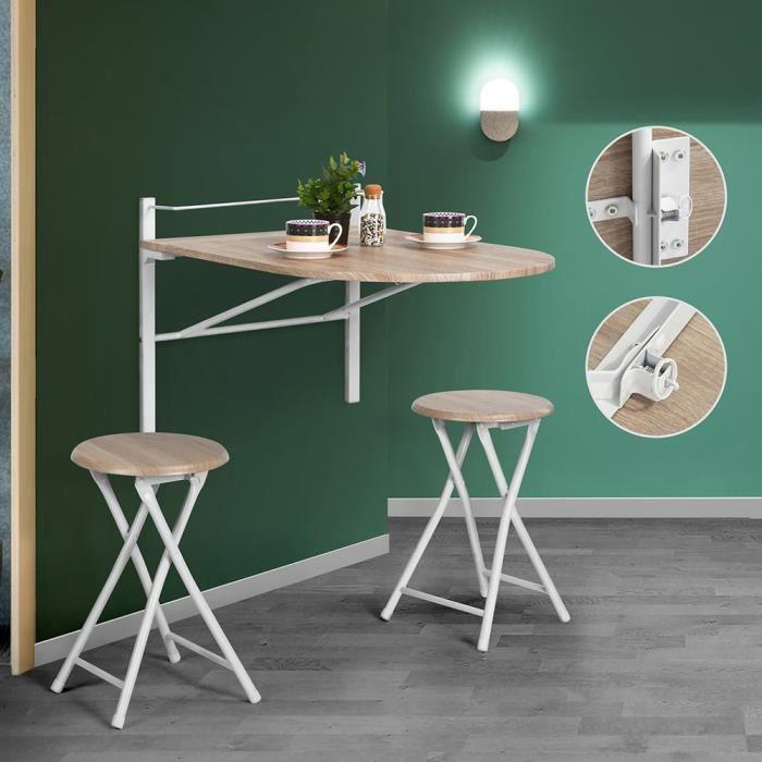 furniturer table murale rabattable table de cuisine pliable avec 2 chaises l 84 x 60 cm