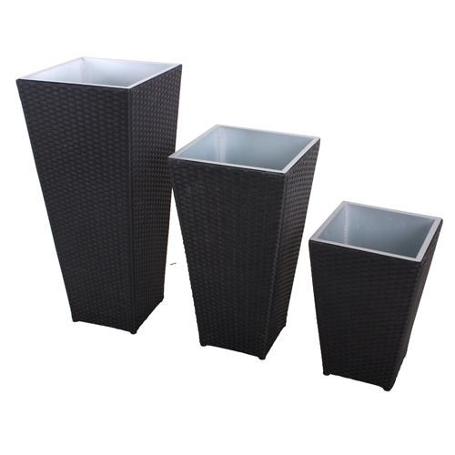 lot de 3 cache pots d 39 ext rieur r sine tress e achat vente jardini re pot fleur pot de. Black Bedroom Furniture Sets. Home Design Ideas