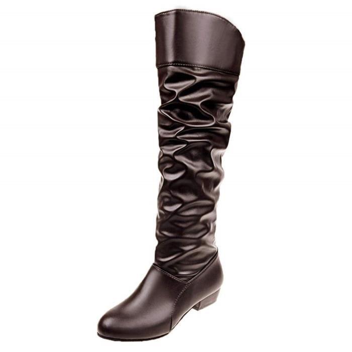 Bottes /à Talons Femme en Cuir Vintage Femmes Bottes Chaud Hiver de Grande Taille /à Fermeture /à Glissi/ère Lat/érale Chaussures De Sport