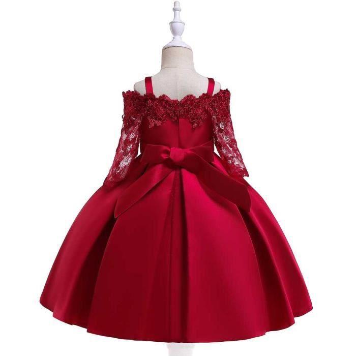 Robe De Soiree Fille Enfant Noel Broderie Dentelle Robe De Princesse Mariage Costumes Vin Rouge Rouge Achat Vente Robe Cdiscount