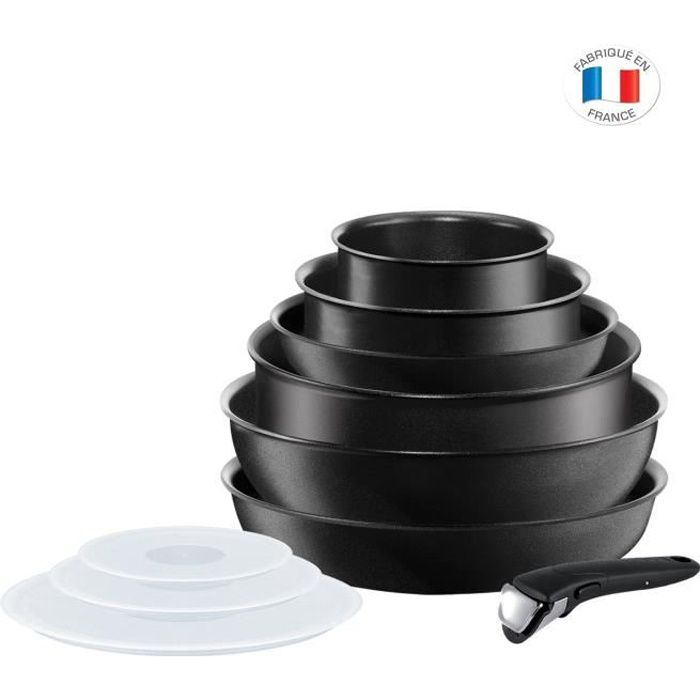 Tefal Ingenio Performance Batterie De Cuisine 10 Pieces Noir Tous