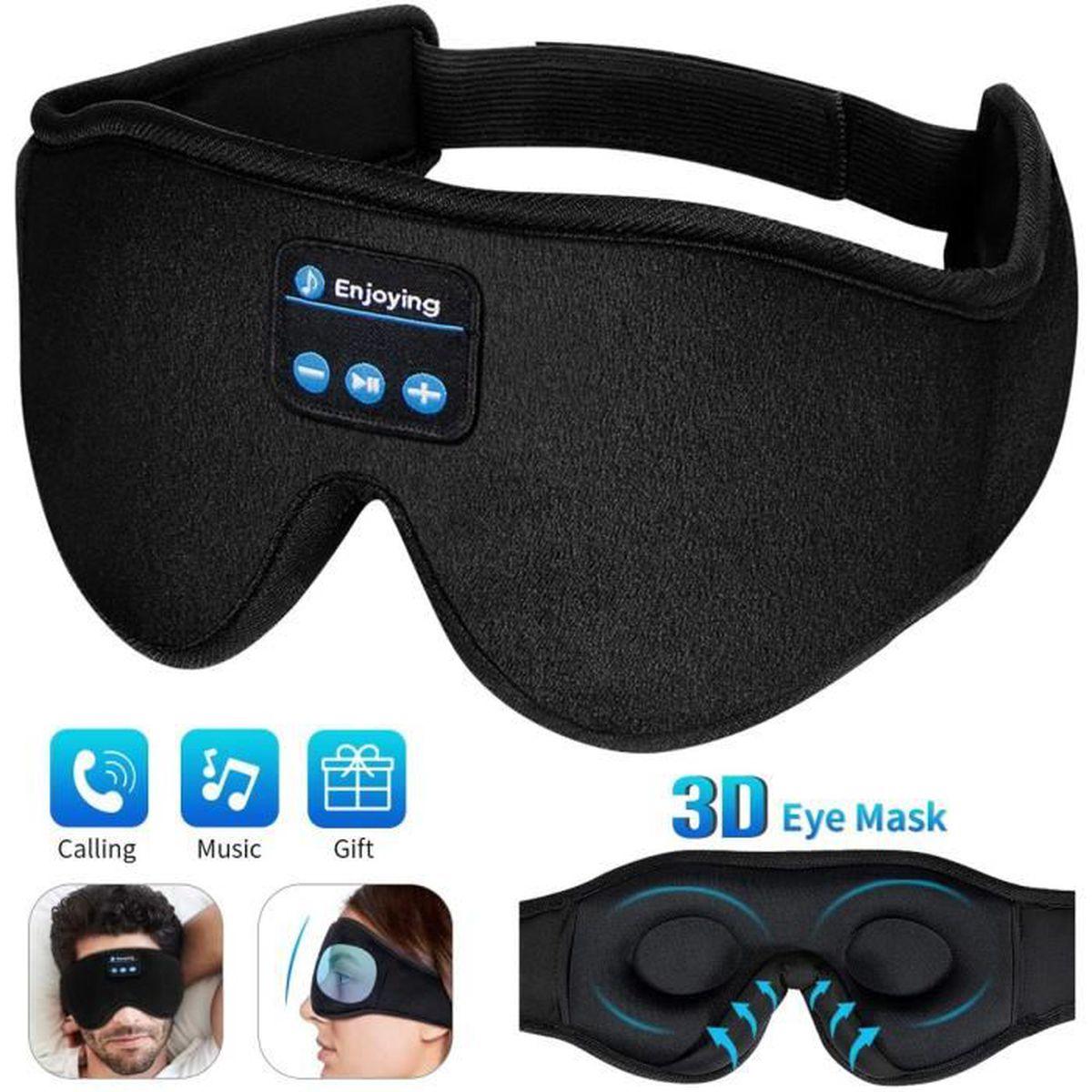 Masque De Nuit Contours 3d Masque De Sommeil Bluetooth 5 0 Casque Anti Bruit Respirant Bloquant La Lumière Cache Yeux Noir
