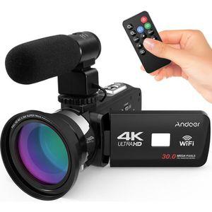 CAMÉSCOPE NUMÉRIQUE Andoer 4K Ultra HD WiFi Caméra vidéo numérique DV