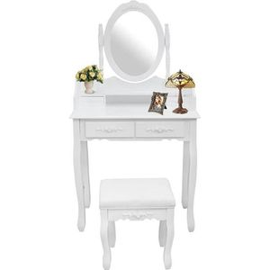 COIFFEUSE Table de Maquillage, Coiffeuse, Blanc, 4 tiroirs,