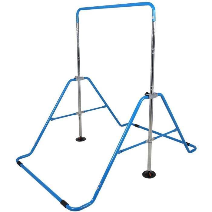 Barre Horizontale Pliable Gymnastique pour Enfants Fitness Maison Équipement d'entraînement Sportif Bleu