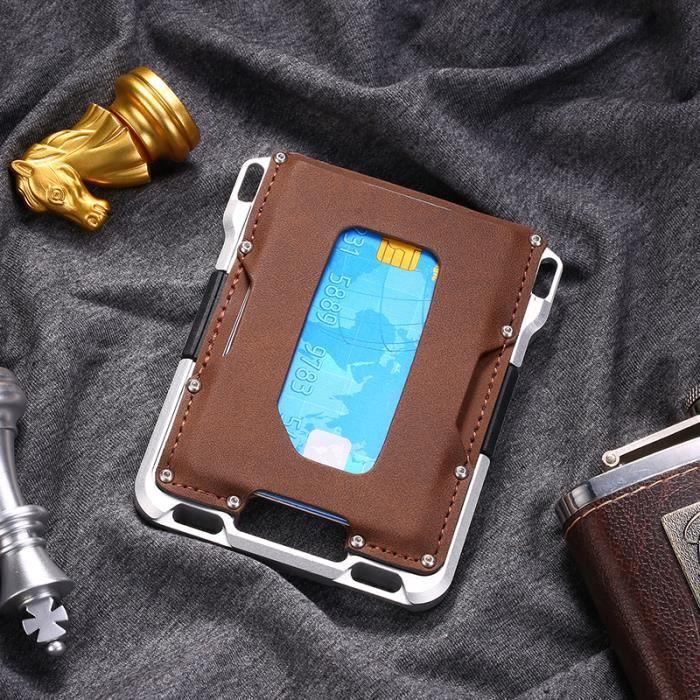 Porte-cartes RFID pour hommes en métal en aluminium