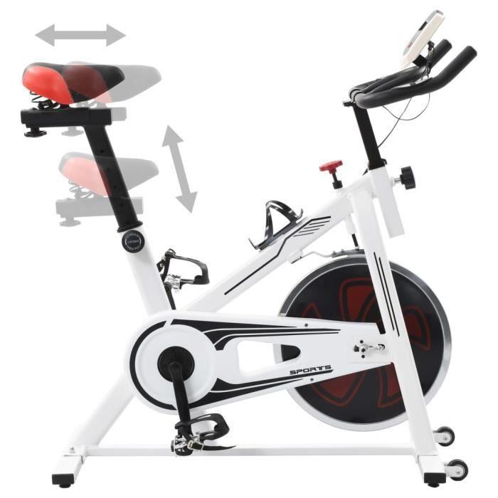 KAI Vélo d'appartement avec capteurs de pouls Blanc et rouge