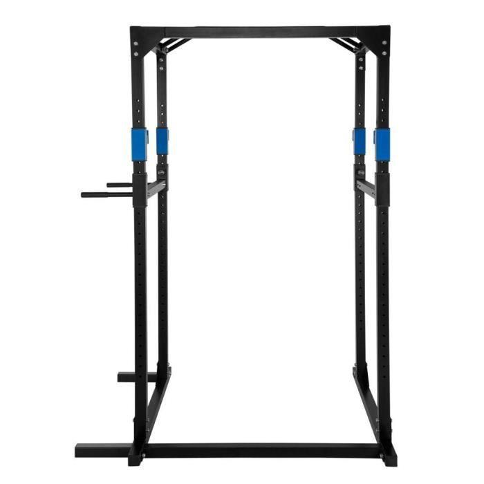 Cage de musculation rack station de fitness noir/bleu 0708069