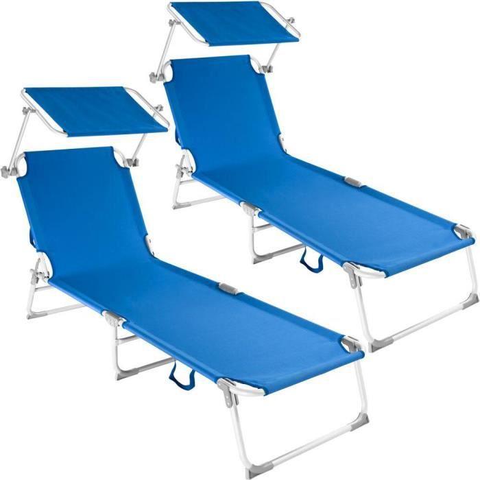 Lot de 2 transats bain de soleil aluminium bleu 2208192